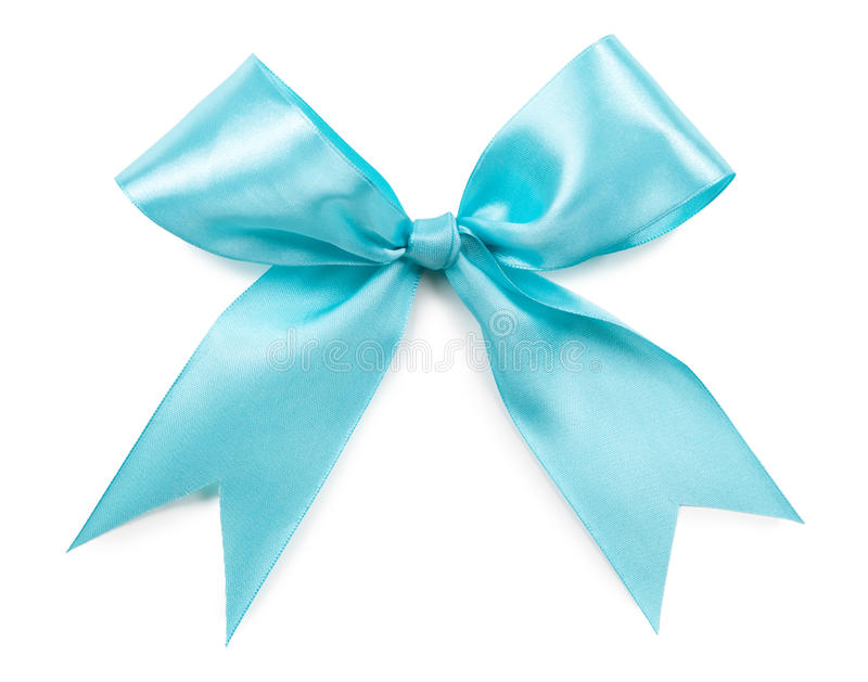 Turquoise bow isolated on white stock images