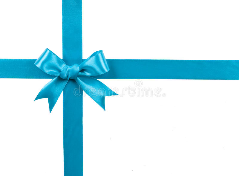 Turquoise bow isolated on white background royalty free stock images