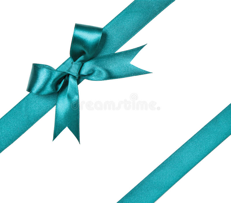 Turquoise bow isolated on white background royalty free stock image