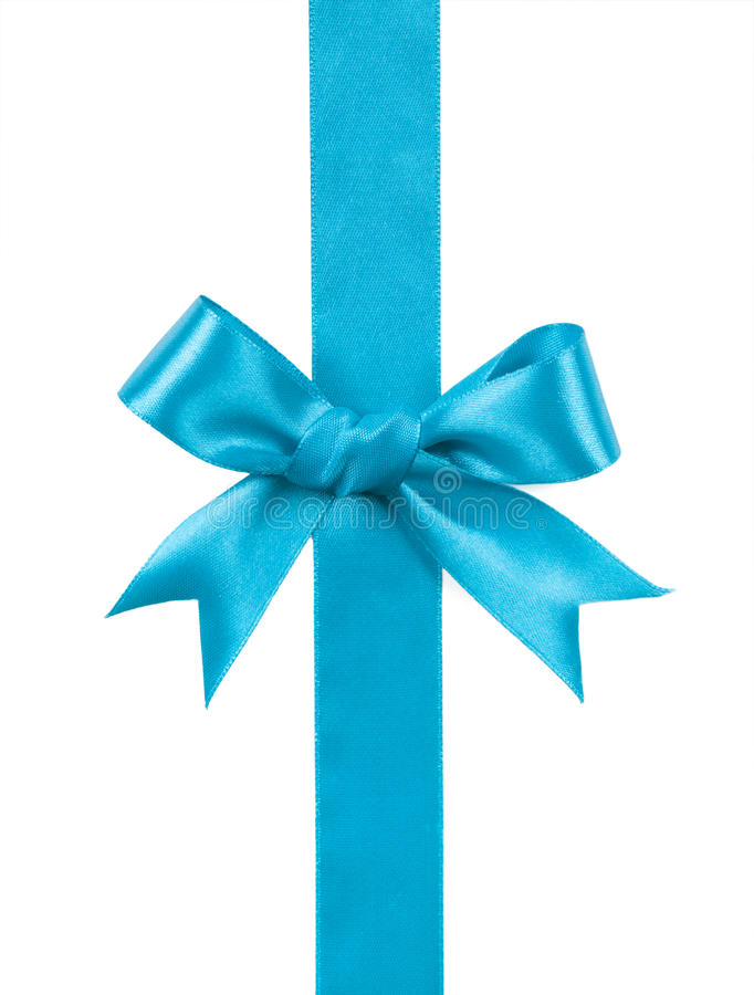 Turquoise bow isolated on white background stock photo