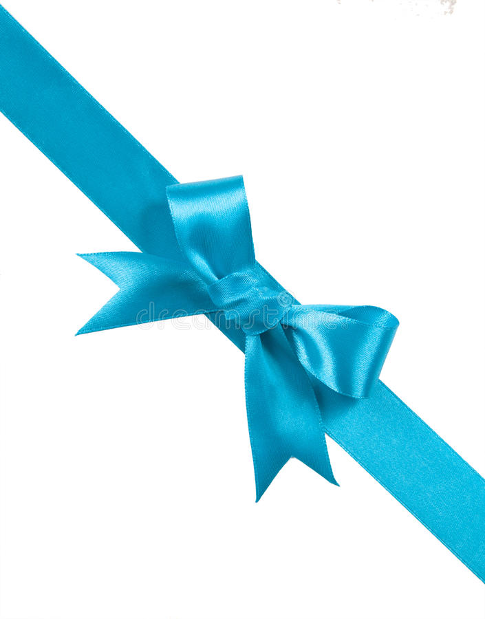 Turquoise bow isolated on white background stock photos