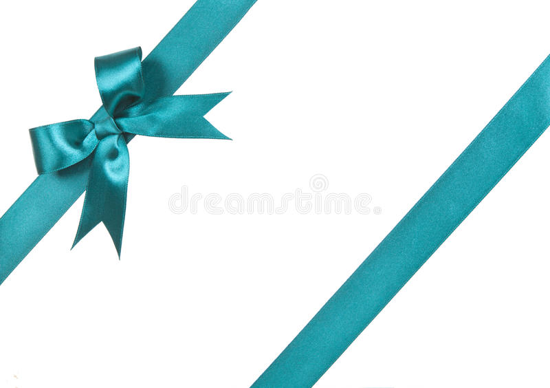 Turquoise bow isolated on white background royalty free stock photo