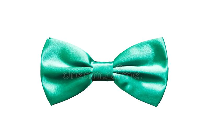 Turquoise bow tie for satin fabric tuxedo isolated on white background royalty free stock image