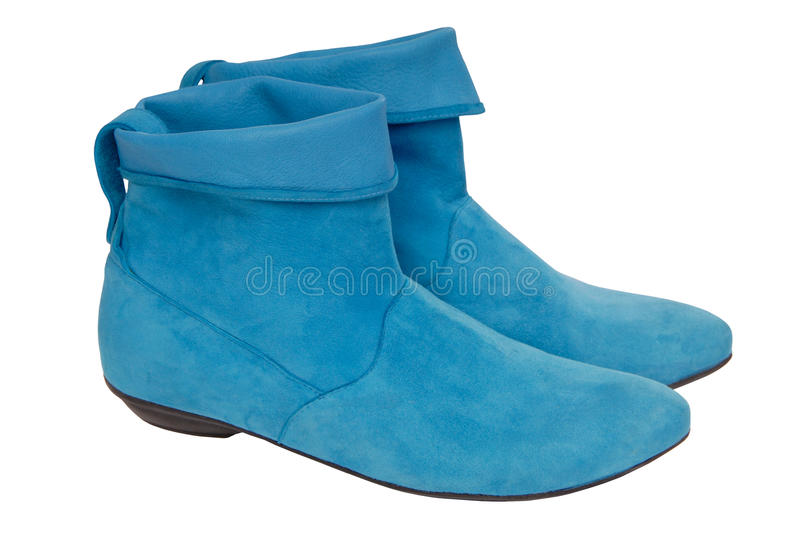 Turquoise chamois boots royalty free stock images