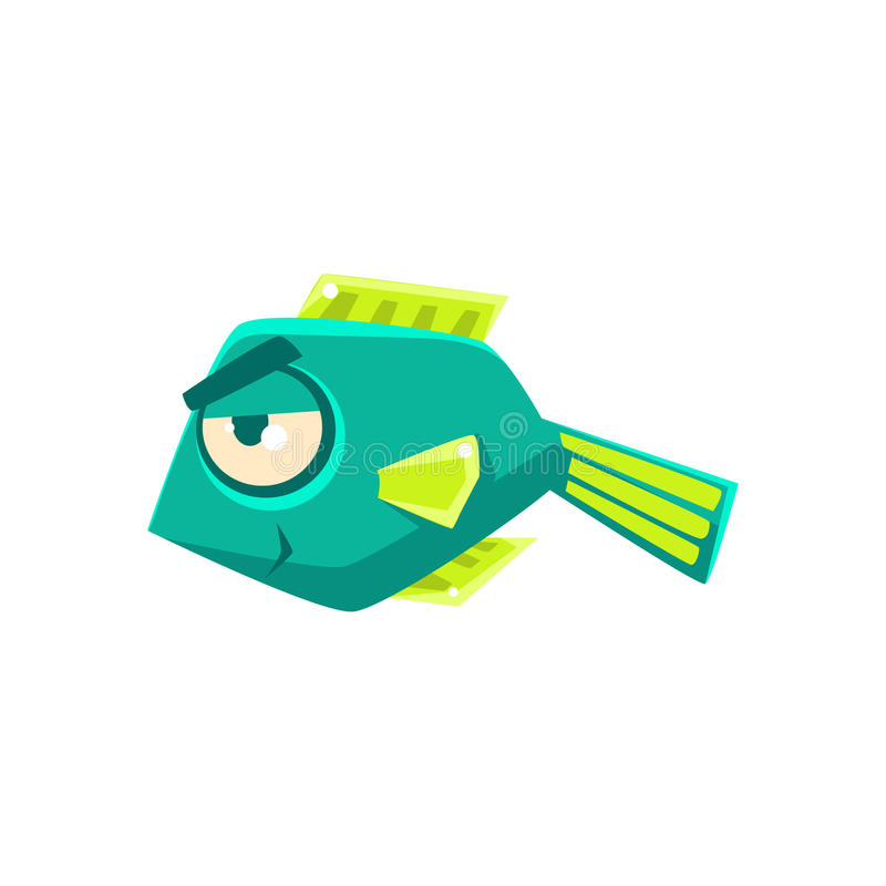 Turquoise Cheeky Fantastic Aquarium Tropical Fish Cartoon Character. Fantasy Warm Water Aquatic Life And Marine Fish Collection Element royalty free illustration
