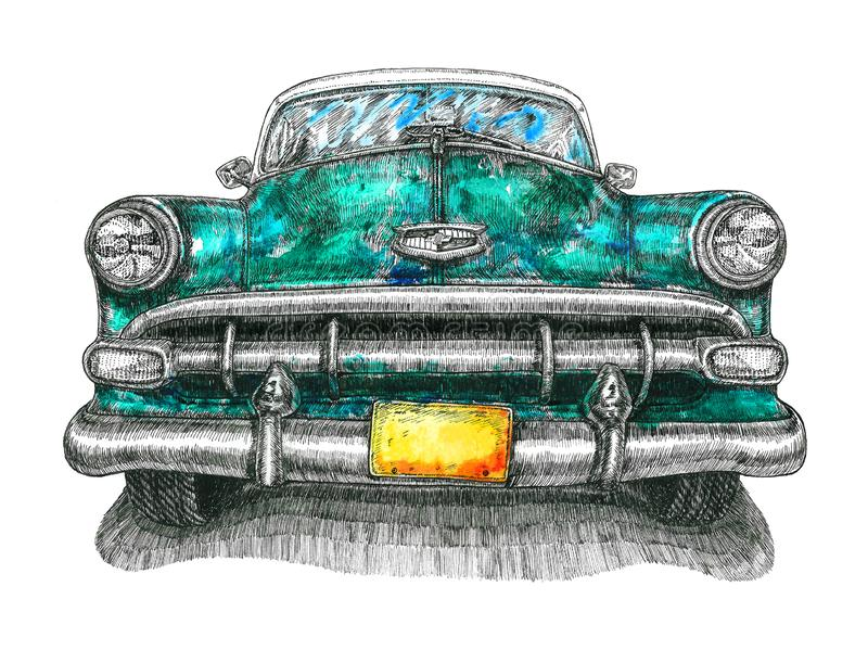 Turquoise Chevrolet Bel Air front view, mixed media, watercolor illustration with ink  drawing, isolated on white royalty free illustration