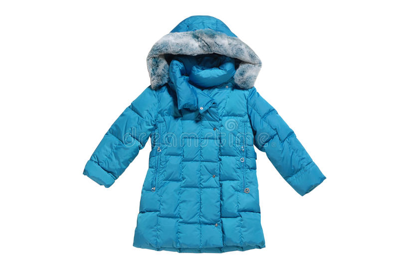 Turquoise childrens padded coat stock photography