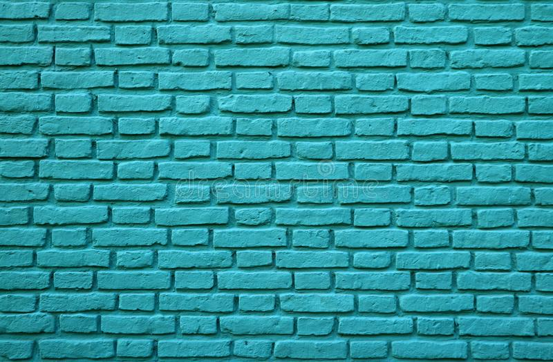 Turquoise Colored Brick Wall at La Boca in Buenos Aires of Argentina for Background. Texture or Pattern stock photo