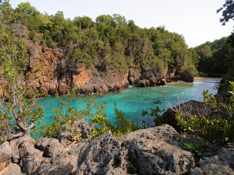 Turquoise cove. Amazing turquoise cove at a place knonw as Guajimico (place of fishes, in native language) at Caribbean sea, south coast of Cuba stock photos