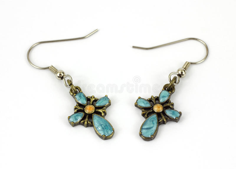 Turquoise Cross Earrings royalty free stock photography