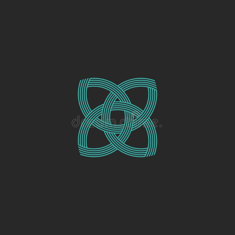 Turquoise crossing lines shape lotus logo yoga meditation symbol, beauty salon sacred geometry emblem stock illustration