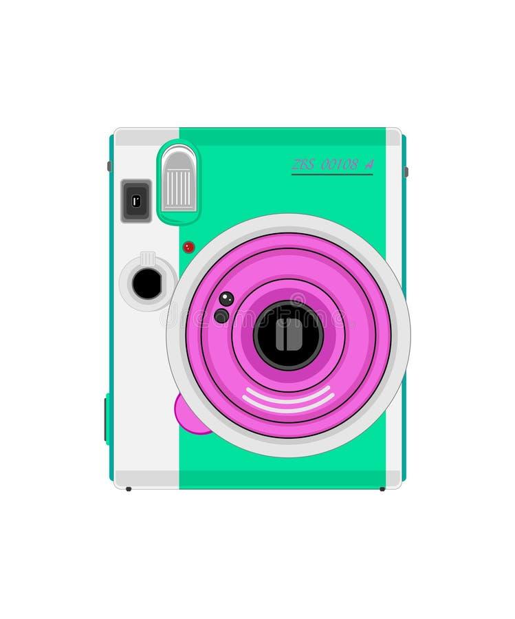 Turquoise de couleur de caméra de photo de dessin de vecteur plus le lilas sur le fond blanc illustration stock