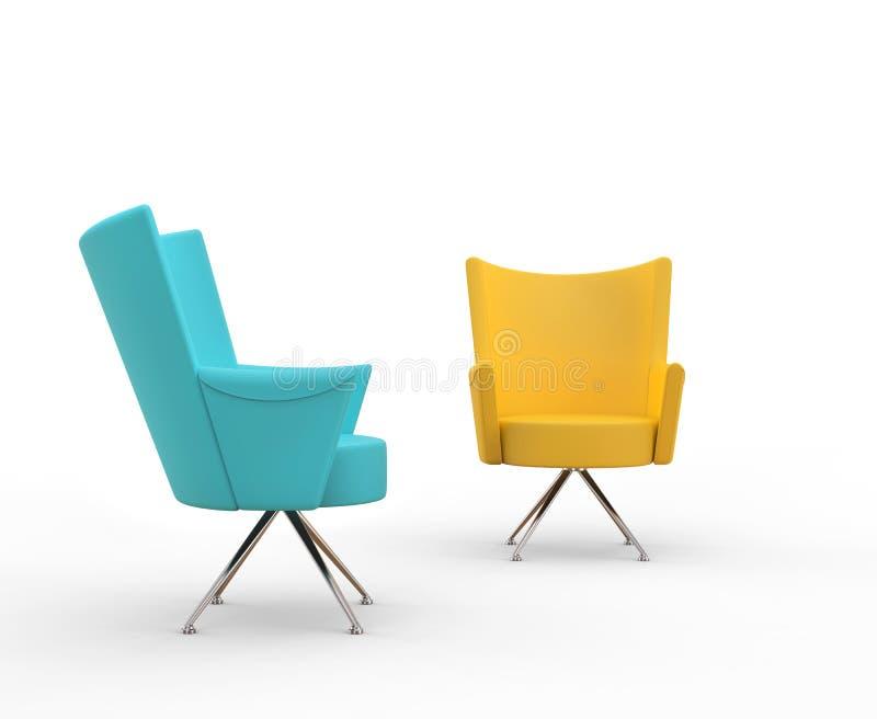 Turquoise et fauteuils modernes de jaune illustration de vecteur