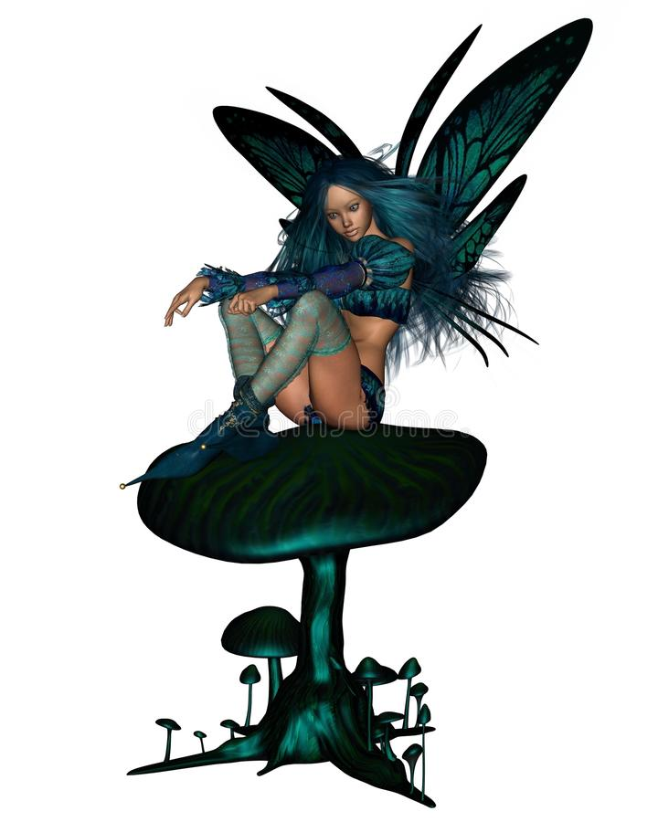 Download Turquoise Fairy Sitting On A Toadstool Stock Illustration - Illustration of turquoise, pixie: 19504395
