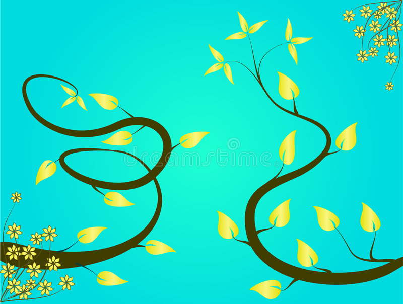Turquoise Floral Background stock illustration