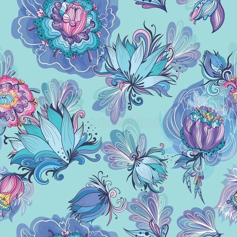 Turquoise Floral Lotus and Peony Vector Pattern vector illustration