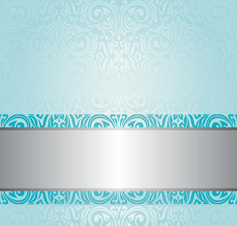 Turquoise Floral Vintage Background Design Stock Vector