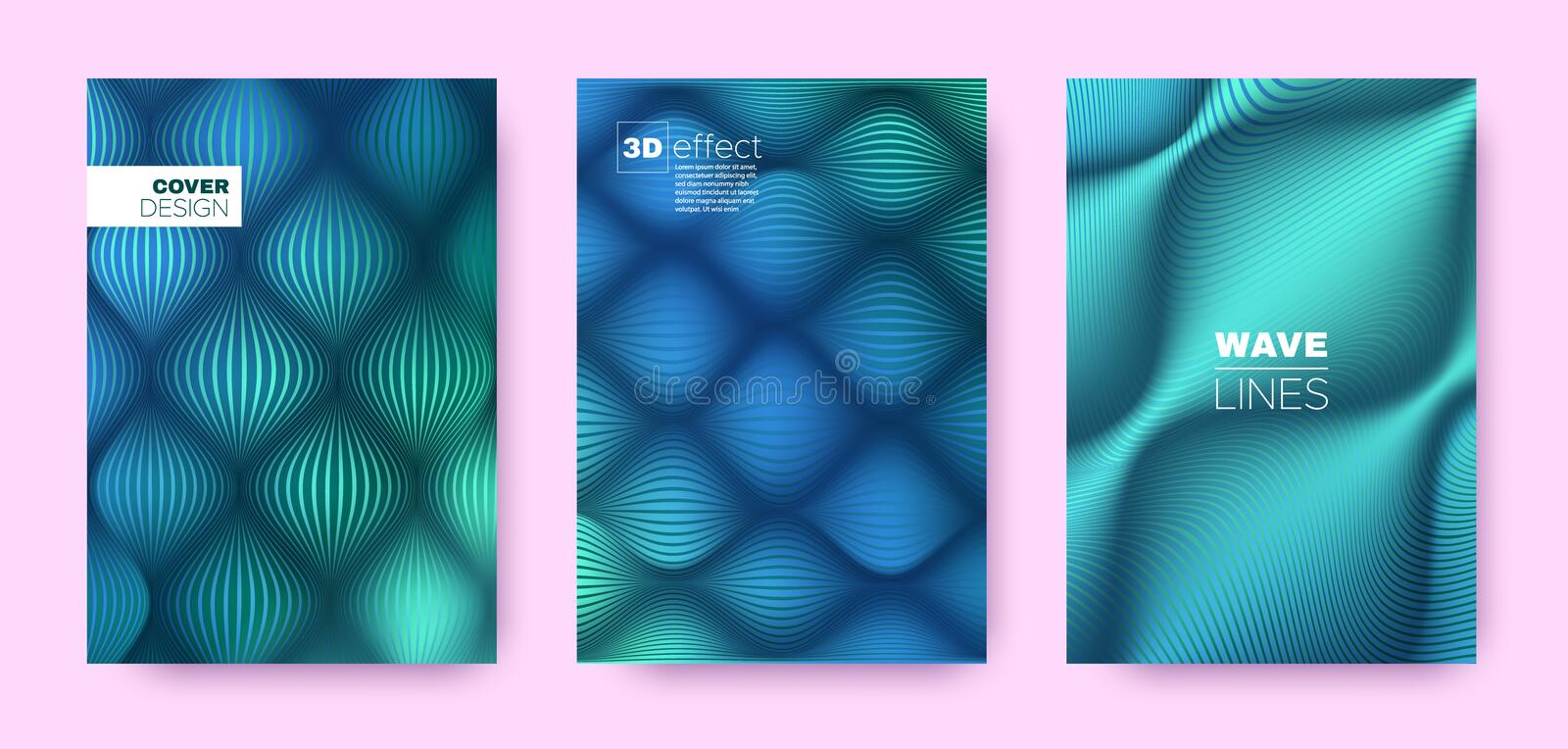 Turquoise Flow Poster. Abstract Covers Set. Dynamic Distorted Lines. 3d Geometric Background. Flow Lines Pattern. Business Covers Set. Cyan Design Banner. Mint royalty free illustration