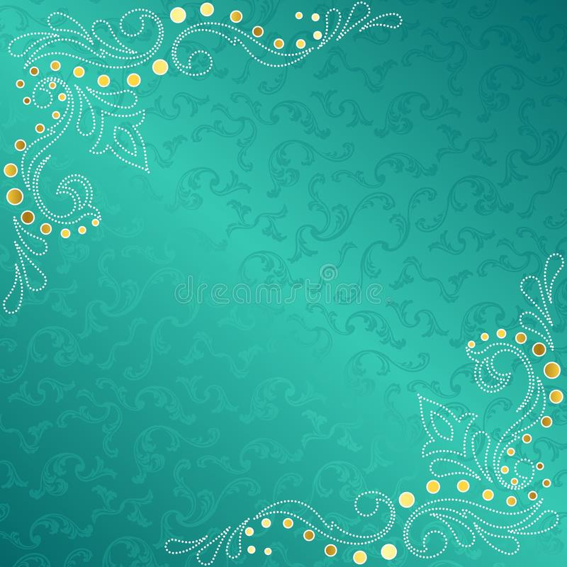 Turquoise frame with delicate sari inspired swirls royalty free illustration