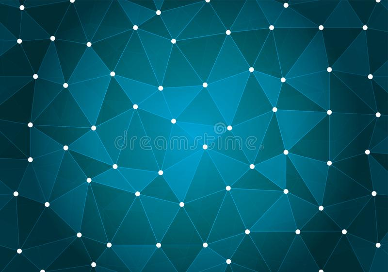 Turquoise Geometric triangular low poly with dots and lines gradient illustration for graphic background. royalty free illustration
