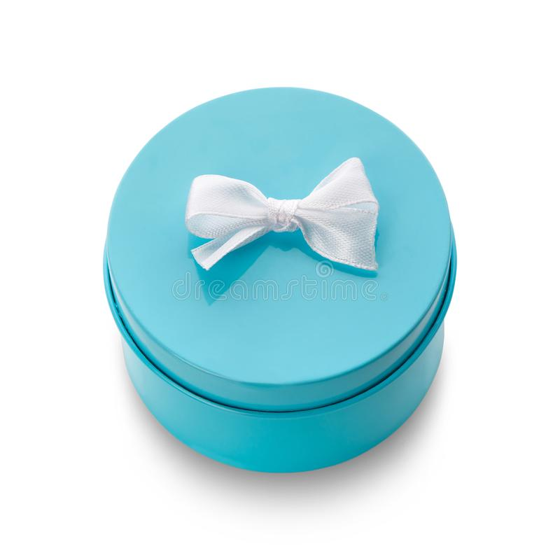 Turquoise gift box with white bow isolated royalty free stock photography