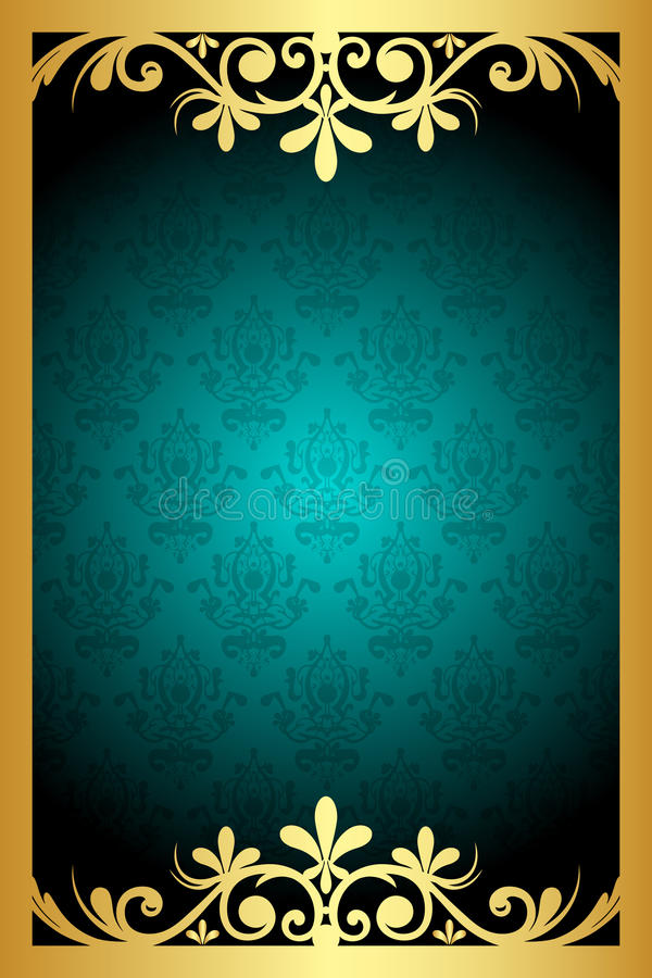 Download Turquoise  and gold frame stock vector. Image of background - 27635526