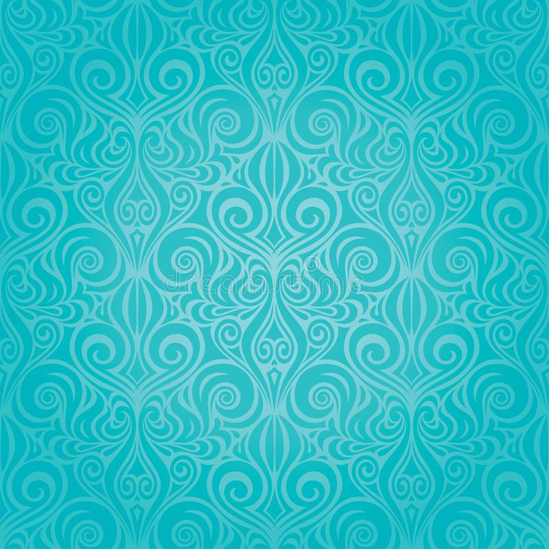 Turquoise green decorative ornate holiday vector background floral wallpaper design royalty free illustration