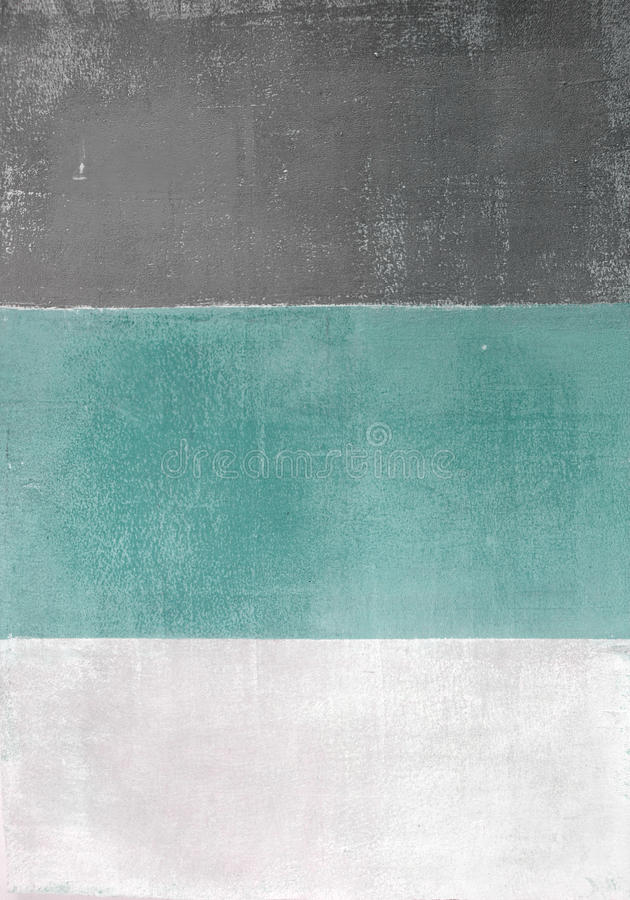 Turquoise and Grey Abstract Art Painting stock image