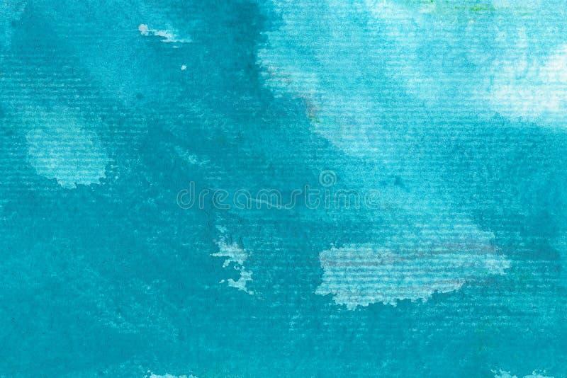 Turquoise hand drawn watercolor painting. Modern light blue blending raster illustration. Turquoise hand drawn watercolor painting. Modern light blue blending royalty free illustration