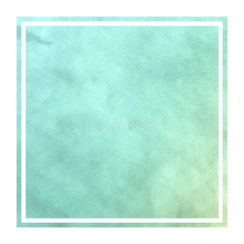 Turquoise hand drawn watercolor rectangular frame background texture with stains vector illustration