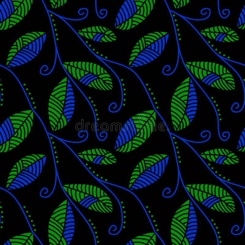 Turquoise And Jade Leaves At Night Seamless Pattern Stock Image