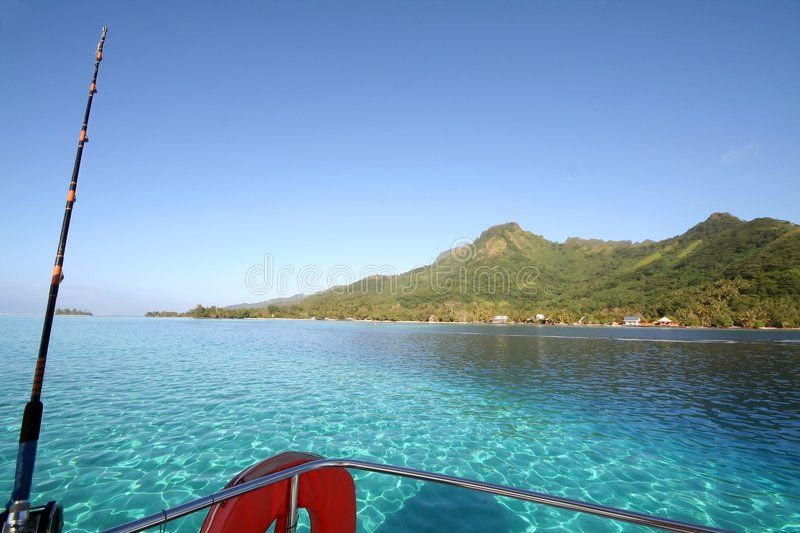Turquoise lagoon from a fishing boat stock photography