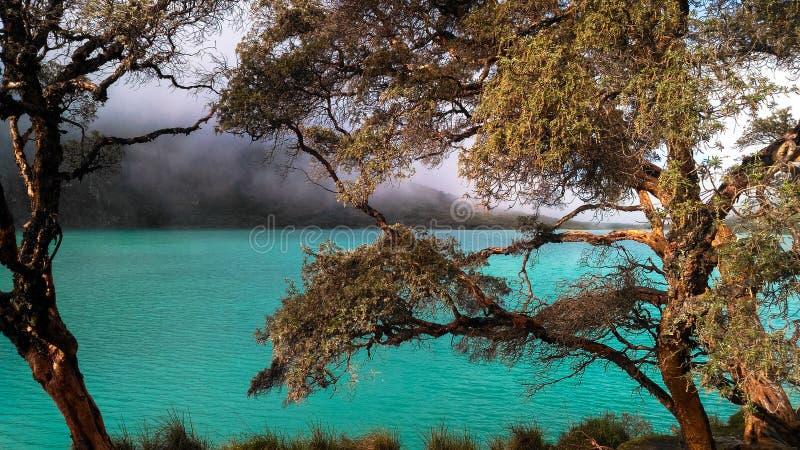Turquoise lake laguna 69 located in White Cordillera in Peru stock photo