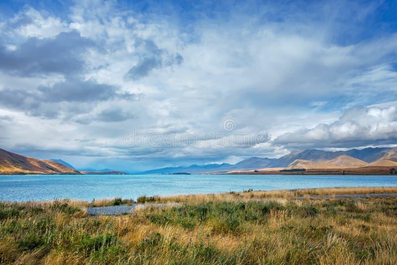 turquoise lake Pukaki in New Zealand stock image