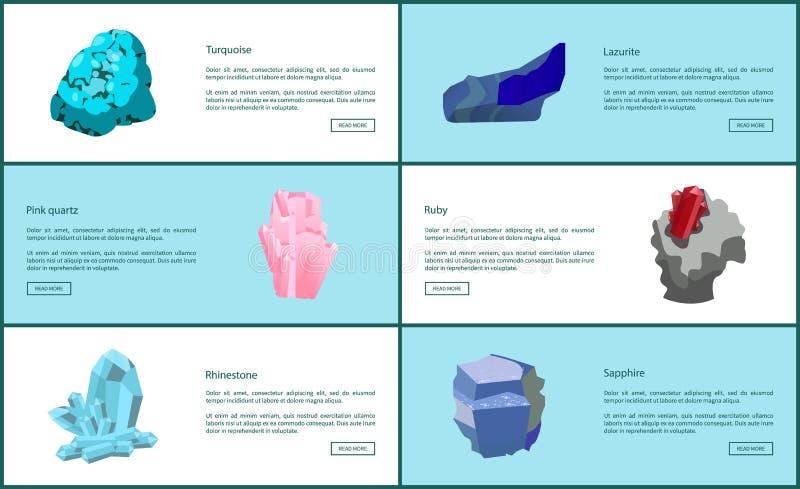 Turquoise Lazurite Quartz Ruby Rhinestone Sapphire. Turquoise lazurite pink quartz ruby rhinestone sapphire precious gemstones set posters. Crystals and minerals stock illustration