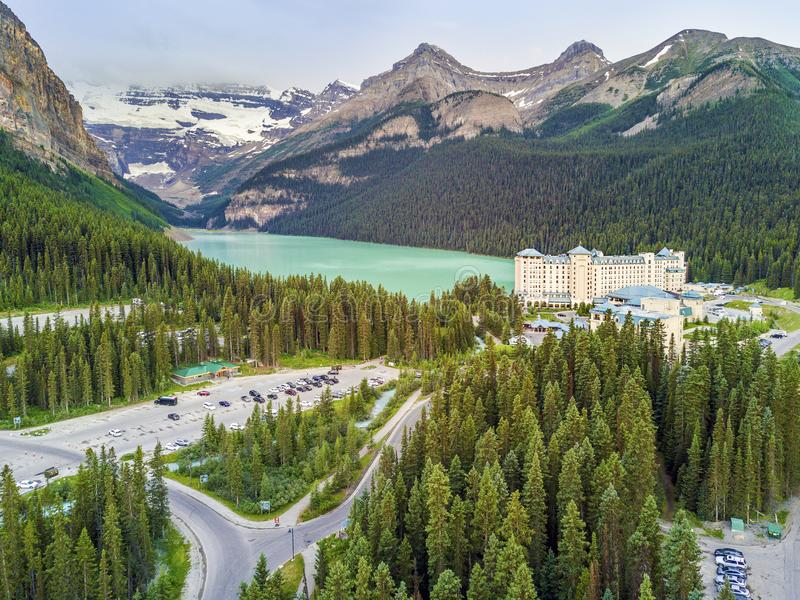 Turquoise Louise Lake in Banff National Park, Alberta, Canada. Turquoise Louise Lake in Rockies Mountains, Banff National Park, Alberta, Canada stock images