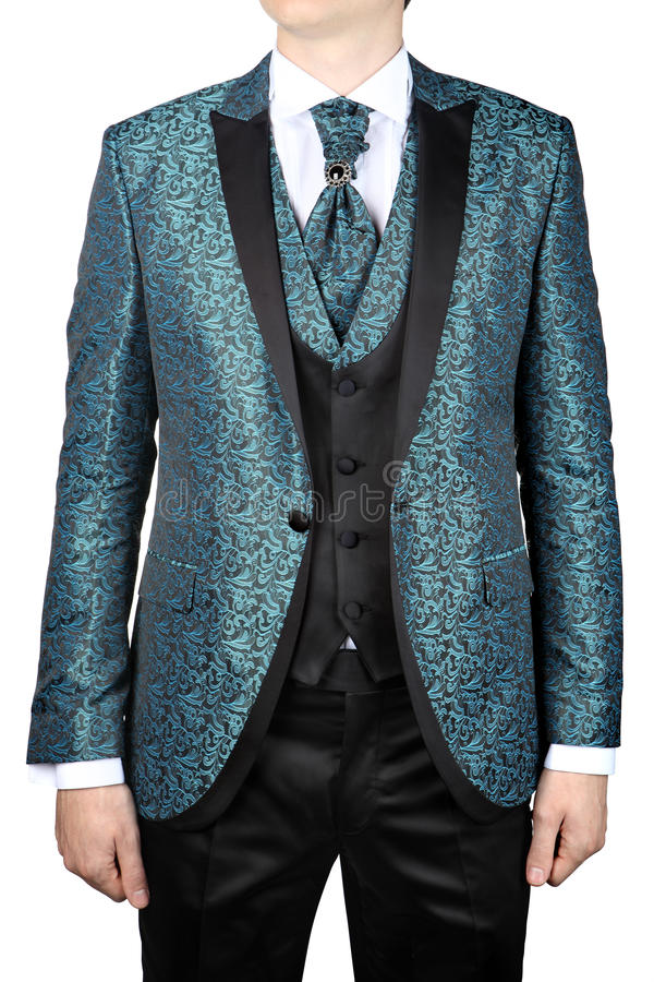 Turquoise Mens Suit With Floral Pattern, For Wedding Or Prom Stock ...