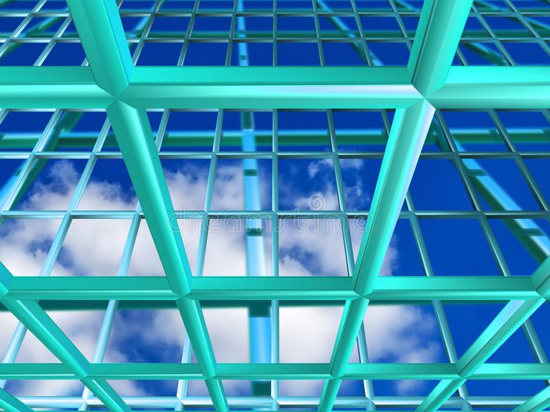 Turquoise grid with sky stock illustration