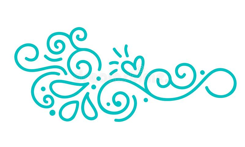 Turquoise monoline scandinavian folk flourish vector with leaves and flowers. Corners and dividers for Valentines Day royalty free illustration