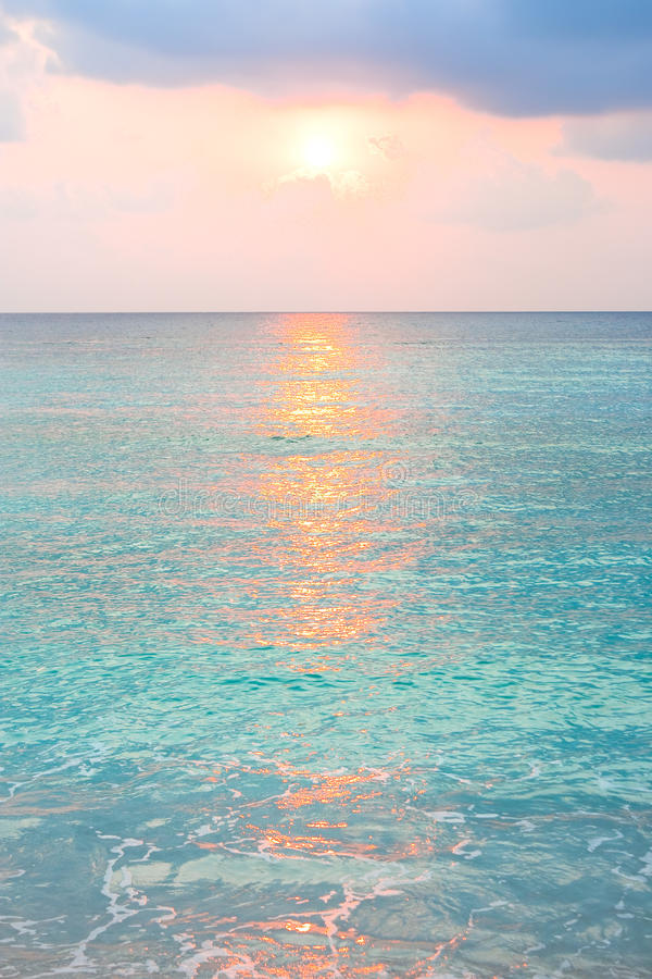 Download Turquoise Ocean In Sunrise At Tropical Island Stock Photo - Image: 9534646