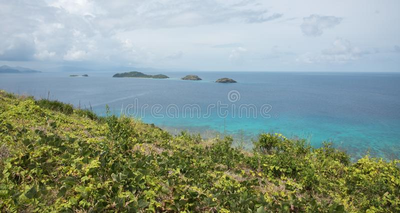 Turquoise Pacific Ocean View from Dravuni Island royalty free stock images