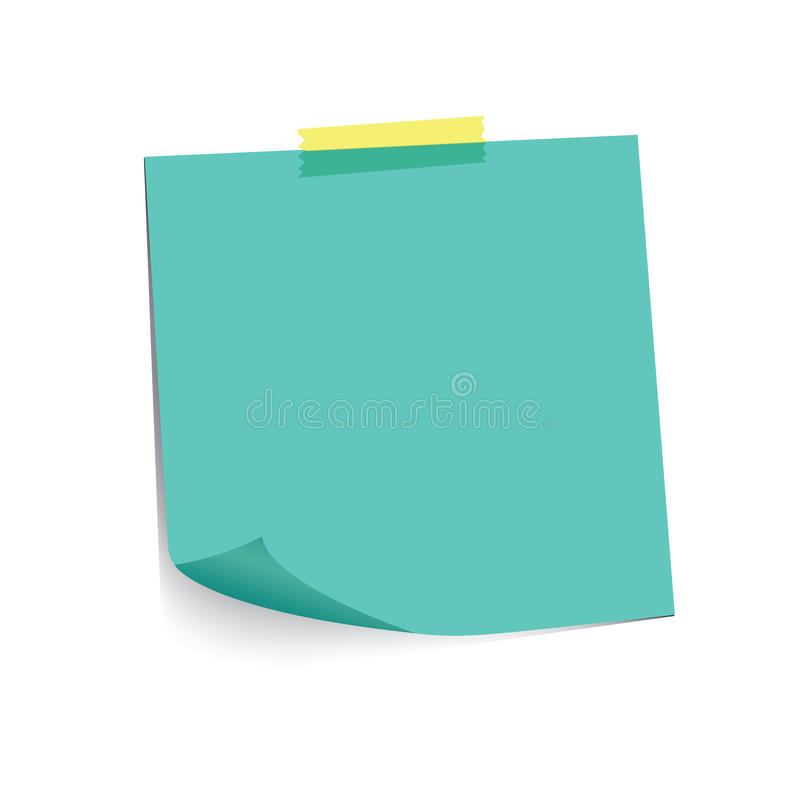 Turquoise paper note and adhesive tape with curled corner, ready for your message. Vector illustration. stock illustration