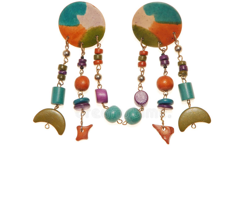 Turquoise plastic earrings; costume jewellery stock images