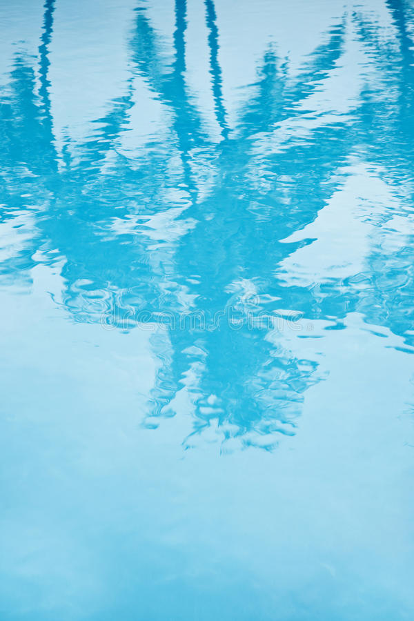 Turquoise pool with reflection of palm tree stock image