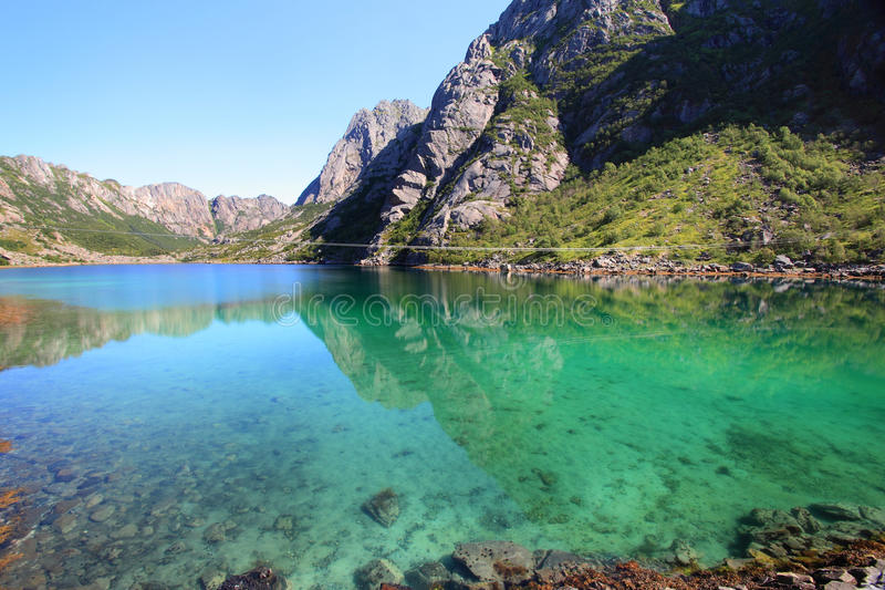 Turquoise pool. Small artificially closed fjord in Vagan, an island of Lofoten archipelago stock photography