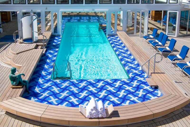 Empty pool of a luxury Cruise Liner stock photography