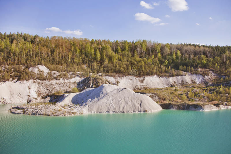 Turquoise quarry landscape at Volkovysk Belarus. Attraction: Turquoise quarry landscape at Volkovysk Belarus royalty free stock photography