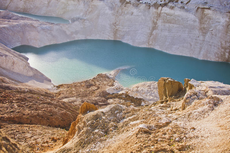 Turquoise quarry at Volkovysk, Belarus,. Attraction: Turquoise quarry at Volkovysk Belarus. Extraction of chalk royalty free stock image