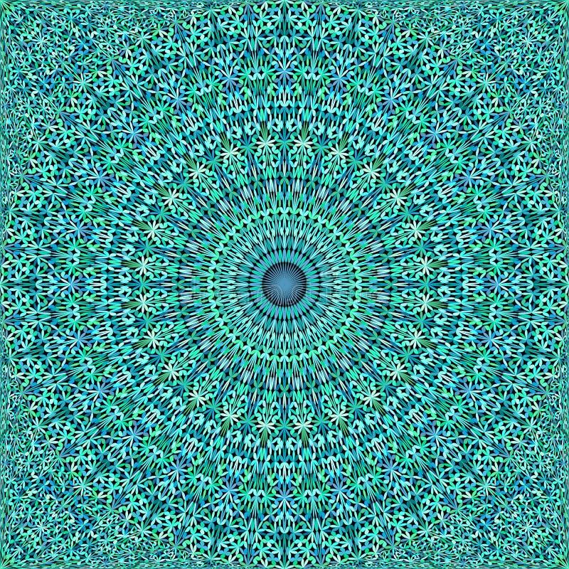 Turquoise répétant le papier peint fleuri floral de modèle de mandala illustration de vecteur