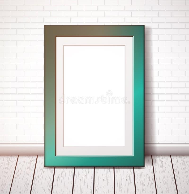 Turquoise rectangular frame on a white brick wall vector illustration